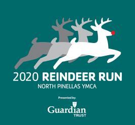 2020 Reindeer Run North Pinellas YMCA  three illustrated deer on teal background
