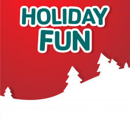 holiday fun in green letters on red background and white trees