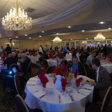 Panoramic shot from West Pasco Prayer breakfast 2018, guests at tables